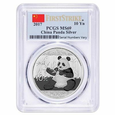 2017 China Panda Silver - First Strike - PCGS MS69 - 30 g Ag .999 - Chinese flag