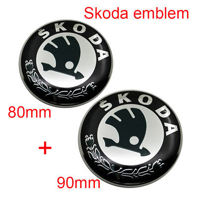 2pcs for SKODA Front + Rear EMBLEM BADGE 90+80mm FABIA OCTAVIA SUPERB ROOMSTER