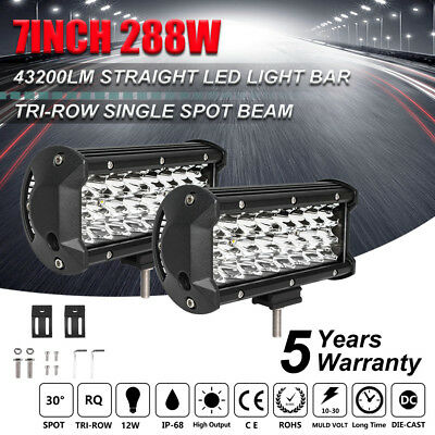 """Pair 7"""" Inch 576W Led Off road Light Bar Spot Beam For Honda Tractor 4X4WD 8"""" 9"""""""
