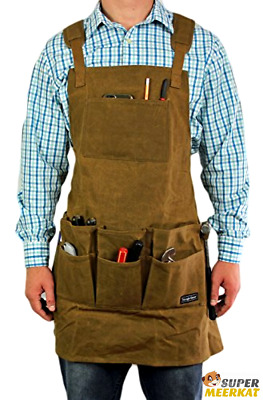 Tool Apron Work Shop Waxed Canvas Heavy Duty Brown With 11 Pockets For Men Women