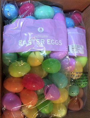 "240  Multi Color Easter Eggs Plastic Refillable Assorted Colors 2 1/4"" X 1 1/2"""
