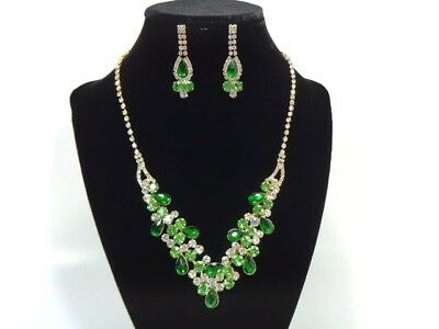 Jewelry-Set-Necklacet+Earring-Bridal_Fashion_Party G/GREEN / esmeral