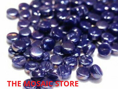 Small Royal Blue Iridised Round Glass Dots - Mosaic Art & Craft Tiles & Supplies