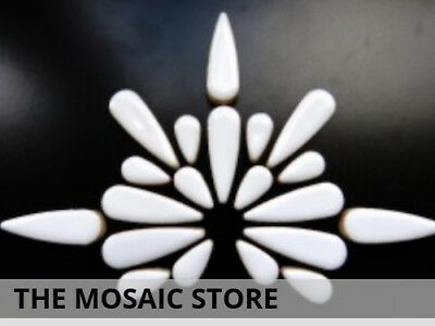 White Ceramic Teardrops | Decorative Mosaic Tiles Supplies Art Craft