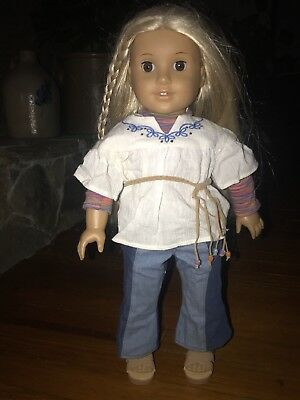 american girl doll julie albright with clothes, tight limbs, no markings, no box
