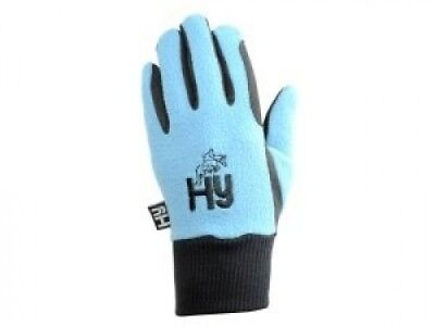 (Black/Sky Blue, Child Large) - Hy5 Children's Winter Horse Riding Gloves -