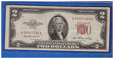 1953 $2 Dollar Bill Old Us Note Legal Tender Paper Money Currency Red Seal M652