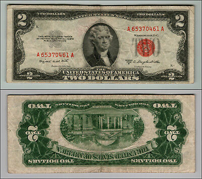 1953B $2 Dollar Bill  Us Note Legal Tender Paper Money Currency Red Seal P765