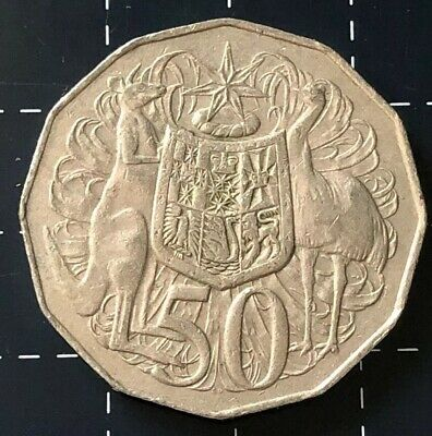 1980 Australian 50 Cent Double Bar Variety Error Coin
