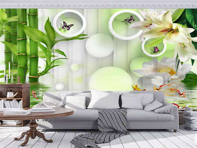 Homely Green Lotus 3D Full Wall Mural Photo Wallpaper Printing Home Kids Decor