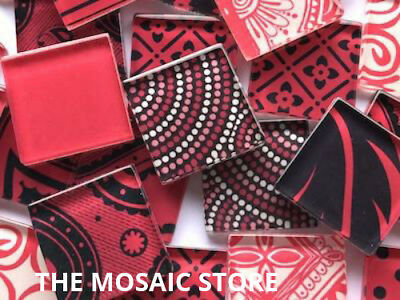 Handmade Red Glass Mosaic Tiles 2.5cm - Supplies Art & Craft