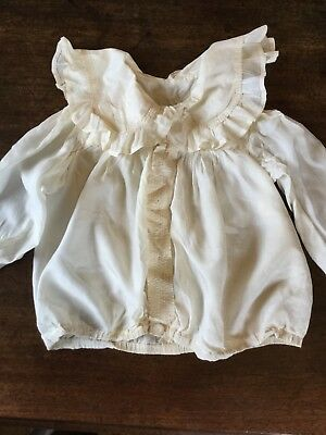 Antique Victorian silk child's shirt ruffle collar concealed buttons.