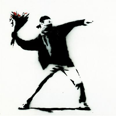 Banksy - Flower chucker - 50 x 65 cm. Arches Paper - Printed Signature