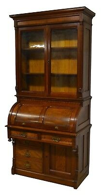 Antique 1800's Victorian Walnut Secretary Cylinder Roll top Desk w. Bookcase