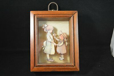 Vtg 3-D Layered enameled Paper Holly Hobbie Art Picture Hanging Girl Shadow Box
