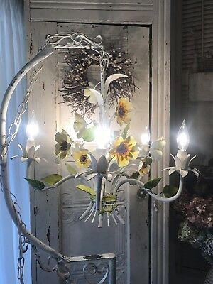 Vintage Italian Tole Chandelier. Floral And Leaf Design Ready To Use.