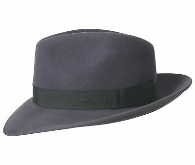 01712df5801c1d Bailey of Hollywood Hereford Shale Fedora 100% Wolle Bogart Traveller Form