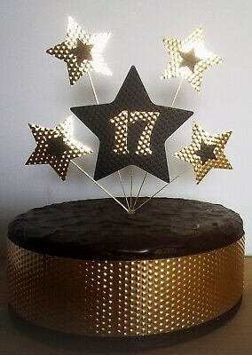 17th BIRTHDAY CAKE TOPPER STARS Gold And Black