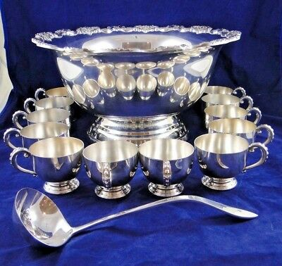 Towle Silverplate Footed Punch Bowl With Floral Border 12 Cups & Ladle Set