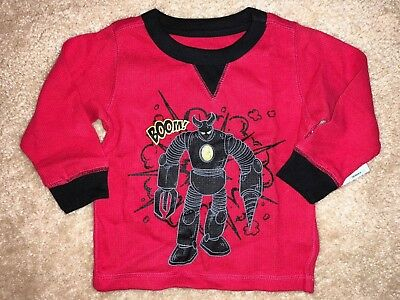 Boys New Nwt Size 12 Months Red Long Sleeve Top Shirt Boom! Healthtex Black Trim
