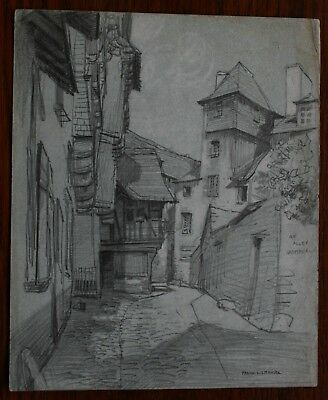 Quimperle France original graphite drawing by Frank L Emanuel c 1920