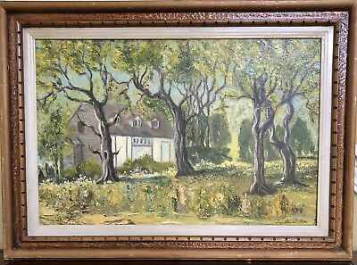 VINTAGE Fine Oil Painting Country Cottage/Home Signed  & Framed