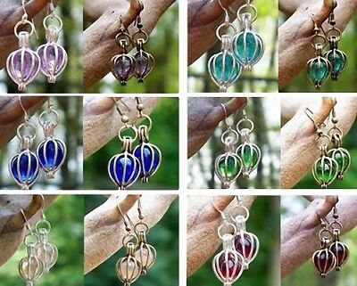 Antique Brass or Silver Drop Pierced Earrings~ Reclaimed Vintage Glass~ 6 Colors