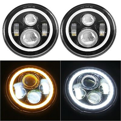 "7"" Halo LED Headlights Bulb Angel Eye Ring DRL Amber Turn Signal Jeep Wrangler"
