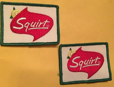 Squirt Pop Drink Soda Cloth Embroidered Sew On Patch - VINTAGE - Lot of 2