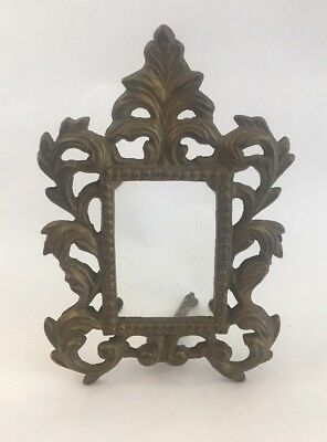 """Vintage Heavy Ornate Cast Brass/Bronze Picture Frame For 2"""" x 3"""" Photos"""