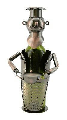 happy Moustache Chef With Pie Pot Metal Wine Bottle Holder Character. Best Price