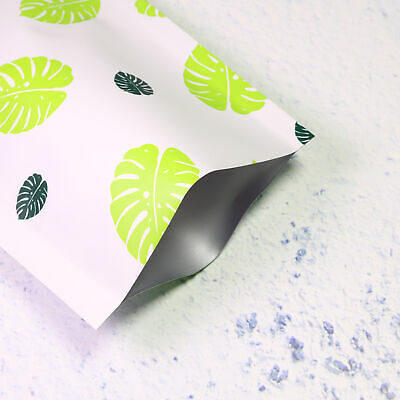 100 Pcs Double Sided Green Aluminum Mylar Storage Bags With Leaves Design