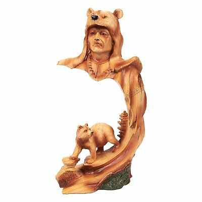 American Indian Figurine Warrior Bear Decor Statue Wild Animal Figurine Interior