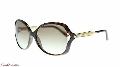 ac9825ba344 Gucci Women Oval Sunglasses GG0076S 003 Havana Gold Brown Lens 60mm  Authentic