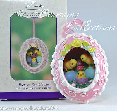 2003 Hallmark Peep-a-Boo Chicks Sugar Easter Egg Diorama Ornament Panorama RARE