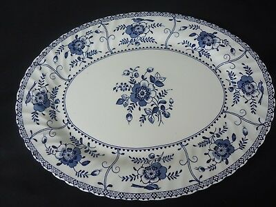 johnson bros brothers indies blue & white oval platter