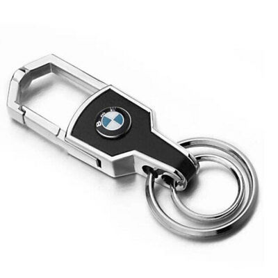 Fashion Double Ring Car Logo Metal Leather Key chains Silver keyring for BMW