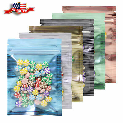 100 pcs Various Colors And Sizes Flat Mylar Clear Window  Zip Lock Storage Bags