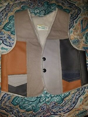 Vintage Genuine Leather Patchwork Sheepskin Vest Boys Child 4 gray brown Hippy