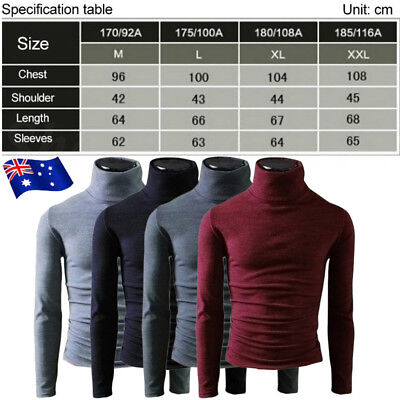 Men's Knitted Polo Roll Turtle Neck Pullover Sweater Jumper Tops Casual Shirt AU