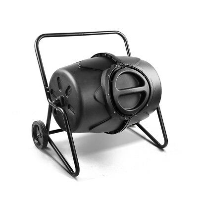 NEW 190L Capacity Steel Frame Lockable Barrel Garden Compost Tumbler Bin - Black