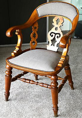 Armlehnstuhl England um 1870 Walnuss / Nussbaum victorian office chair walnut