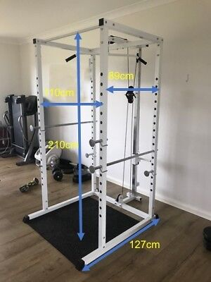 Power Squat Rack Cage Stand Lat Pulldown Home Gym Bench Press Rows Cable Cobra