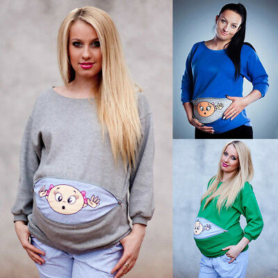 Women Maternity Sweatshirt Lovely Baby Patterns Mom Top Hoodie Long Sleeve
