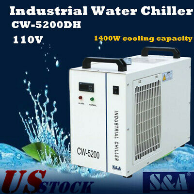 USA S&A 110V CW-5200DH Industrial Water Chiller for 8KW Spindle / Laser Tube