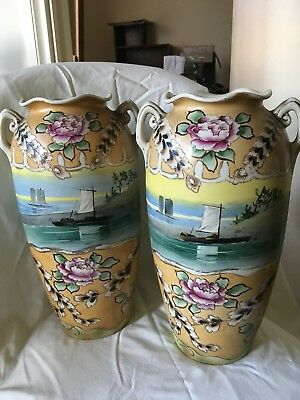 Pair Of Antique Hand Painted Vases
