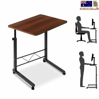 Portable Adjustable Laptop Desk Stand Bed Side Study Table Home w/ Castor Wheels