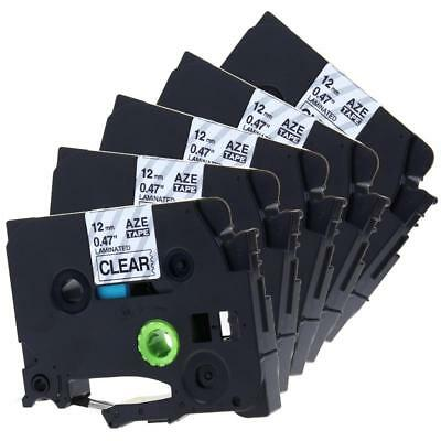 TZe-131 TZ-131 Compatible for Brother Label Tape P-Touch Black on Clear 12mm 5pk