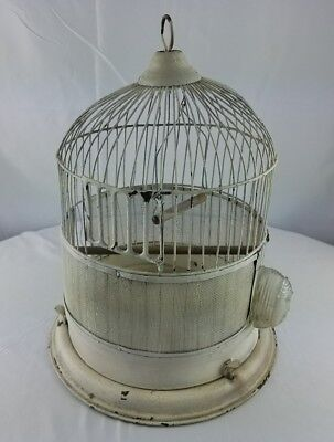 Vintage metal bird cage round dome w/perches & glass watering