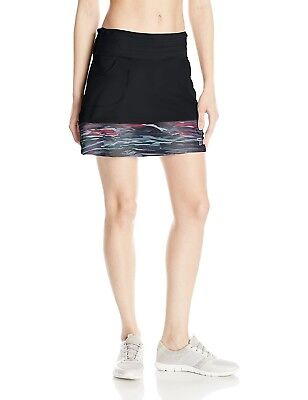 (Large, Black/Romance Print) - Skirt Sports Women's Mod Quad Skirt